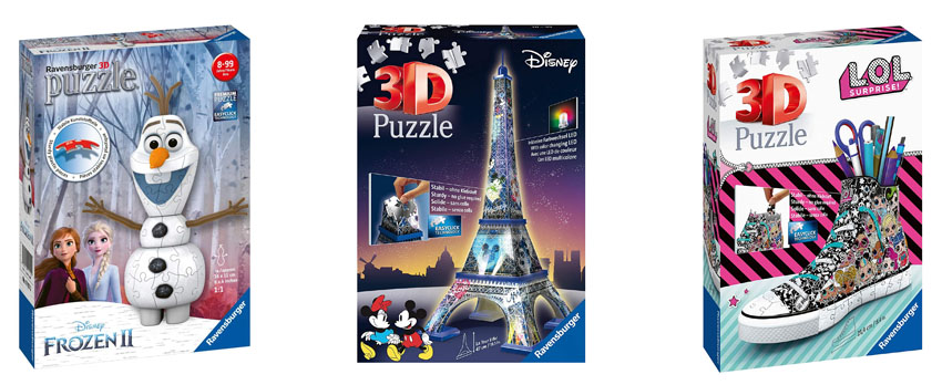 puzzles 3D para niños de diferentes edades